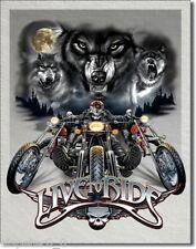 Targa di Latta 31 x 40, Live To Ride - Lupi, USA Werbeschild Art. #1442