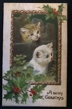 ~Cute~Christmas Cats~Kittens with Holly~Antique Xmas Cat Postcard-b397