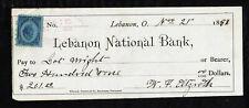 E225 - 1881 LEBANON NATIONAL BANK - LEBANON, OHIO