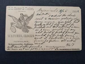 Indiana: McGrawsville 1882 Hamer, Tucker Watches Jewelry Advertising Postal Card