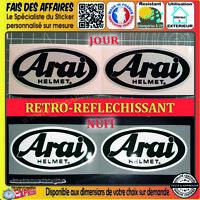 2 Stickers autocollant Arai Helmet  rétro réfléchissant casque moto motorcycle