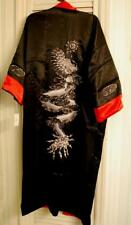 NWT KIMONO ROBE Reversible Silk BLACK & CRIMSON DRAGON W Belt ONE SIZE UNISEX