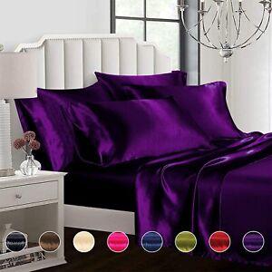 Ahmedani Linen 6 Pcs Satin Queen Size Duvet Cover Bed Set 4 Pillowcases - Purple