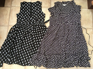 Maternity dress X2 size 12 Mamas & Papas Black With Squares & Black With Circles