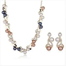 18 K YELLOW GOLD MULTI COLURED PEARL SET NECKLACE EARRINGS GENUINE CHRISTMAS