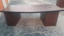 8 X 4 Boat Shaped Napoli Wood Veneer Conference Table With Cube Bases