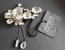 Belle broche vintage couture métal argenté et strass signée CHRISTIAN LACROIX