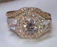 14k white gold over 3 carat round diamond engagement ring wedding band bride set