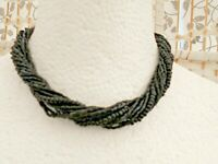 Retro Marks and Spencer Micro Black Glass Multi Strand Twisted Choker Necklace.