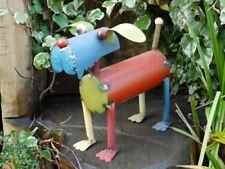 Multi-Coloured Vintage Patch Work Metal Dog Garden Statue Garden Sculpture