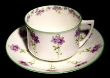 Royal Doulton Green Trim Purple Flowers E8434 Large Breakfast Cup And Saucer