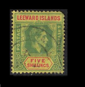 leeward islands stamp - george vi - 5 shilling green/red - good used sg112