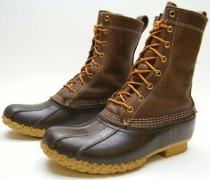 MENS LL L.L. BEAN 175054 BROWN RUBBER LEATHER DUCK HUNTING LACE UP BOOTS SZ 8 M