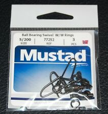 Mustad 77252-5/200 Ball Bearing Swivel Welded Rings and Cross Lock Snap 200lb