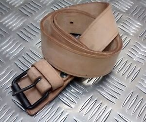 """Genuine Vintage Military Issue Leather 1½"""" Wide Trouser Tan Belt Un-Issued"""