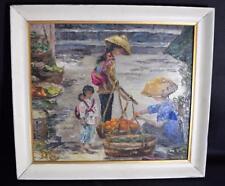 Vintage Chinese Oil Painting~Market Working Portrait~Life scene~Landscape Art~
