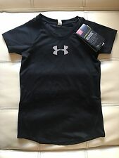 NWT UNDER ARMOUR GIRL COOL SWITCH FITTED T-SHIRT, BLK, SIZE YM, UPF 30, ANTIODOR