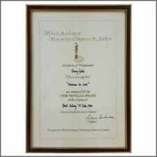 Barbra Streisand / Barry Gibb 1980 Woman In Love Ivor Novello Award Nomination