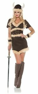 Viking Maiden Costume Womens Sexy Brown Warrior Princess Fancy Dress SM-XL