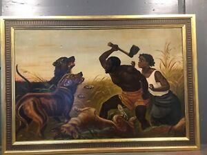 HUNTED SLAVES 1861 Oil PAINTING - Black Lives Americana FOLK ART Civil War