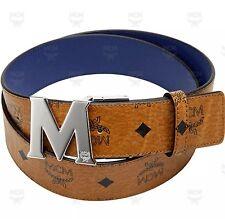 MCM Visetos Round Reversible Belt Cognac MXB3SVI33LU Sz 34