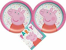 Peppa Pig Party Supplies Bundle with Cake Plates and Napkins for 16 Guests
