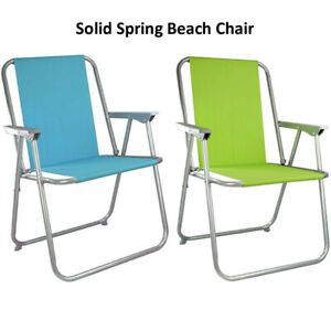 Strong Outdoor Deck Chair Folding Garden Lawn Patio Solid Spring Seat Camping