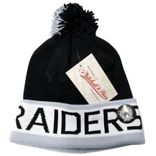 Mitchell and Ness NFL Oakland Raiders 2 Tone Cuffed Knit Pom Beanie Cap with Pin