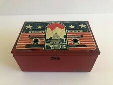 Vintage July 4Th Patriotic Marx Toys Metal Budget Bank with Us Capitol Building!