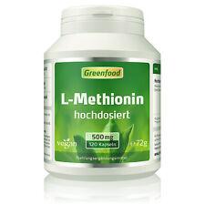 Greenfood L-Methionin, 500 mg, hochdosiert, 120 Kapseln ? vegan