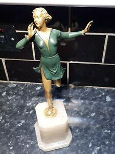 Original 1920s  Art Deco Spelter Lady Figure on marble base
