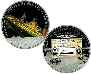 RMS TITANIC COMMEMORATIVE COLOR COIN PROOF LUCKY MONEY VALUE $139