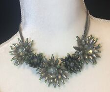 green silver flowers statement necklace 17""