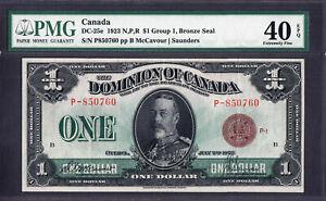 Dominion of Canada 1923 One Dollar BRONZE SEAL DC-25e (P) Group 1 EF PMG 40 EPQ