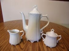 White Teapot Cream And Sugar Scrolled Design Marked Japan W/Rising Sun