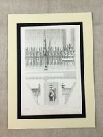 1857 Antique Architecture Print Gothic Cathedral Roof Spires Stone Finials