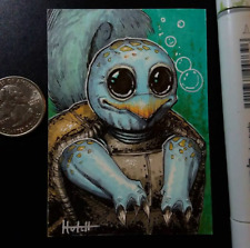 Squirtle inspired Sketch Card - Original Art by Kenneth Hutcheson Hutch