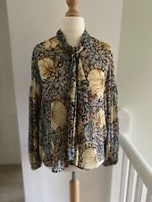H&M Collaboration with Morris & Company Pussycat Bow Floral Blouse, Size 12 NEW