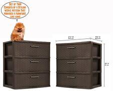 3 Drawer Dresser Storage Unit Organizer Chest Cabinet Set of 2 Bed Room Bath