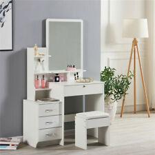 Modern Dressing Tables Stool Bedroom Vanity Set Makeup Desk W/ Mirror 4Drawers@