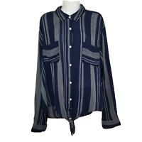 SO Womens Shirt Top Blouse NWT XXL Blue Long Sleeve Button Pocket Tie Knot 2xl