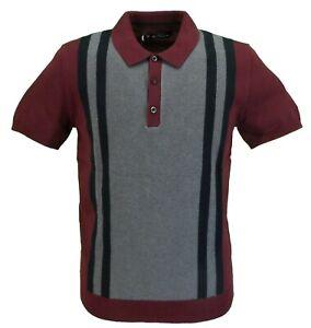 Ben Sherman Wine/Grey Knitted Striped Retro Polo Shirt