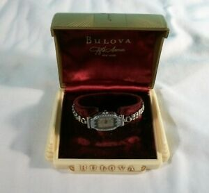Vintage Bulova Art Deco 14K G/F & Emerald Women's Watch With Box