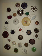 BUTTON LOT  CELLULOID, METAL, PEARL, WOOD, LUCITE, GLASS