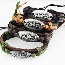 Fashion 12pcs Lizard Leather Women Mens Bracelets Bangles Wholesale Jewelry Lots