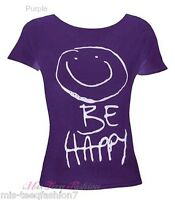 New Ladies Short Sleeve Be Happy Tshirt Print Womens Top Tee Size 8-14