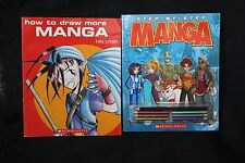 Lot of (2) Scholastic How To Draw MANGA Paperback Books With Colored Pencils