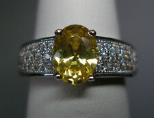 Brand New Sterling Silver Fancy Canary Yellow & White Cubic Zirconia Ladies Ring