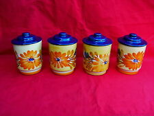 4 pots à épices jaune avec couvercle bleu