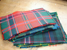 """30 PURE NEW WOOL TARTAN PATCHWORK PIECES 6"""" x 4"""" approx"""